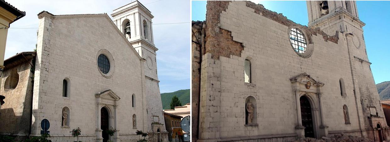 La chiesa di Santa Maria Argentea a Norcia prima e dopo il terremoto